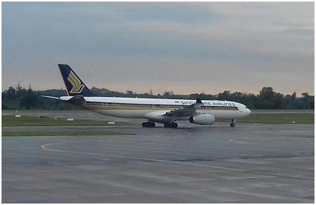 飞机在延误五小时后,于当晚8时50分抵达樟宜机场.